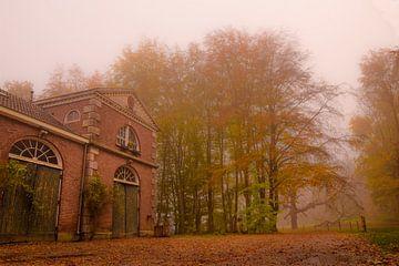 Herfstbos in mist met oud koetshuis