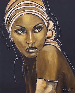 vrouw met goud van Vrolijk Schilderij