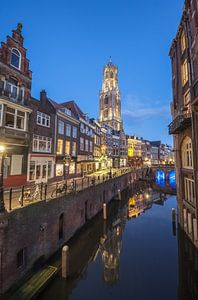 Oudegracht Utrecht vlak na een prachtige zonsondergang van