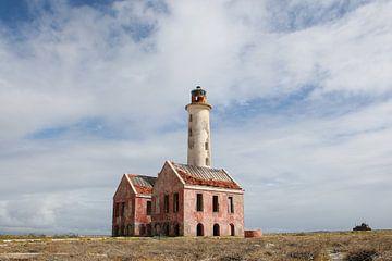 vuurtoren - lighthouse op klein curacao van Frans Versteden
