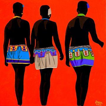 Zulu zusjes oranje van Irene Jonker