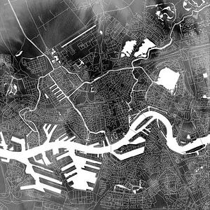 Rotterdam   Stadskaart Zwart Aquarel   Als Vierkant of Wandcirkel