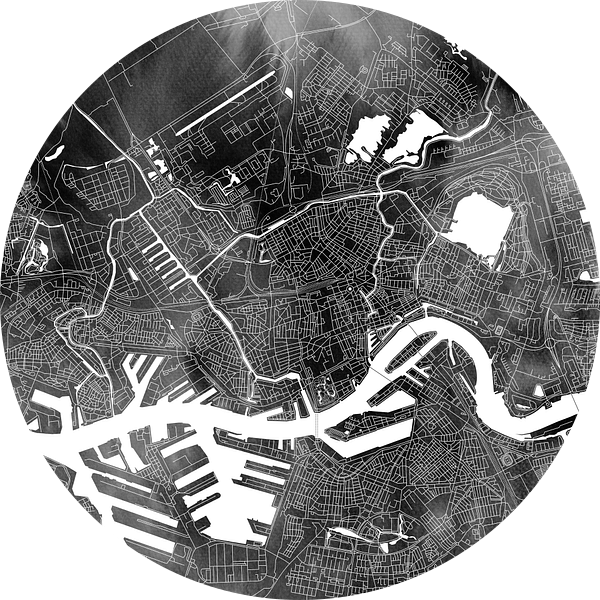 Rotterdam | Stadskaart Zwart Aquarel | Vierkant van Wereldkaarten.Shop