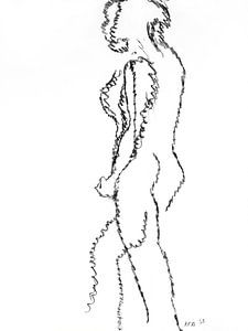 Vrouwelijk naakt staand.