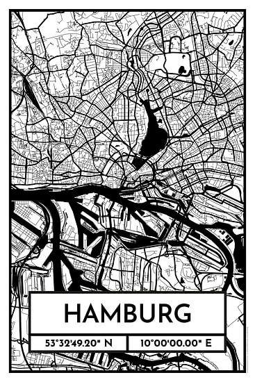 Hamburg - Stadsplattegrond ontwerp stadsplattegrond (Retro)