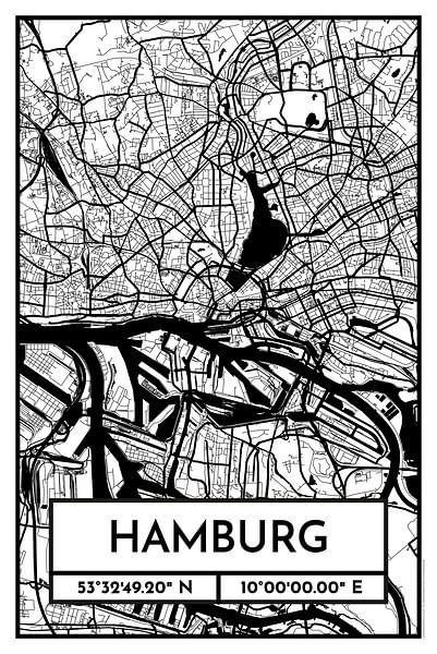 Hamburg - Stadsplattegrond ontwerp stadsplattegrond (Retro) van ViaMapia