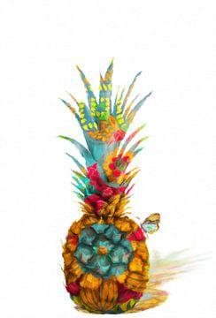 Ananas mit Schmetterling abstrakt von Marion Tenbergen