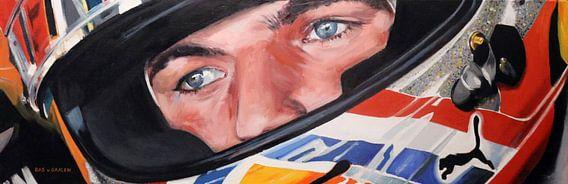 Max Verstappen - portret - geschilderd  van Bas van Gaalen