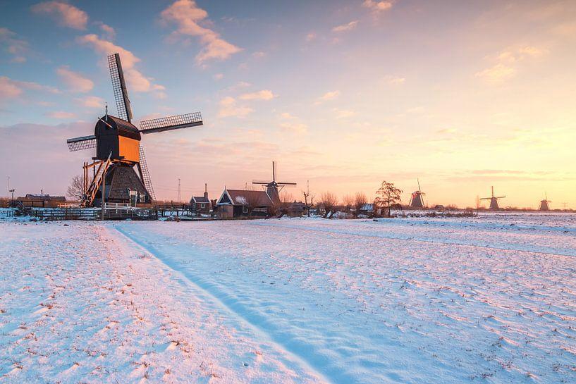 Winterse zonsopkomst bij de molens van Kinderdijk van Ilya Korzelius