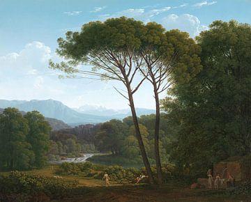 Italiaans landschap met pijnbomen, Hendrik Voogd sur