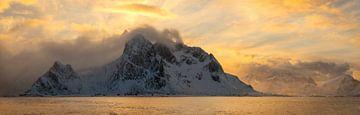 Panorama van het geweldige landschap van de Lofoten tijdens een schitterende zonsondergang. van