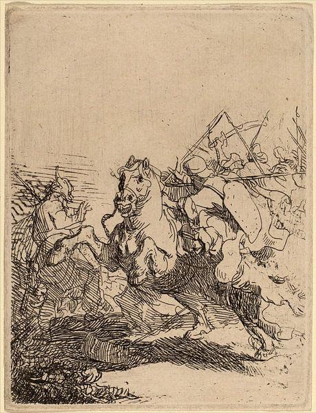 Rembrandt van Rijn Een Cavalerie gevecht van Rembrandt van Rijn