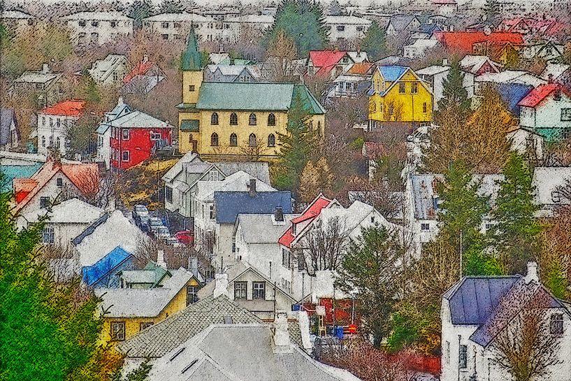 Downtown Hafnarfjordur, IJsland van Frans Blok