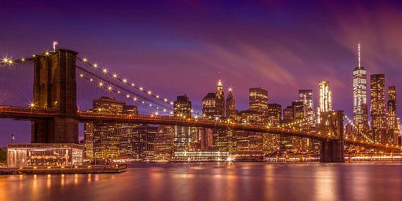 BROOKLYN BRIDGE zonsondergang New York City | panorama