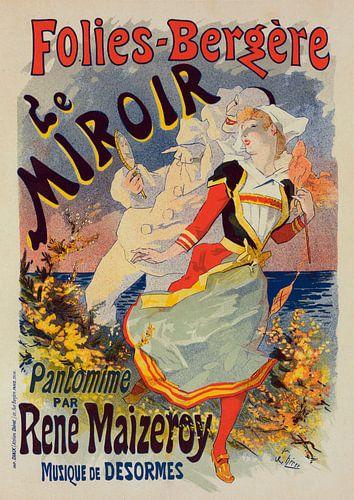 Poster voor de Folies Bergère,een cabaret muziekhal in Parijs, Frankrijk. van Jules Cheret, 1836 193 van