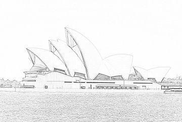 Zeichnung des Opernhauses von Sydney - Australien von Be More Outdoor
