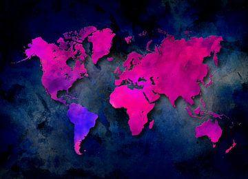 Weltkarte lila blau #Karte von JBJart Justyna Jaszke