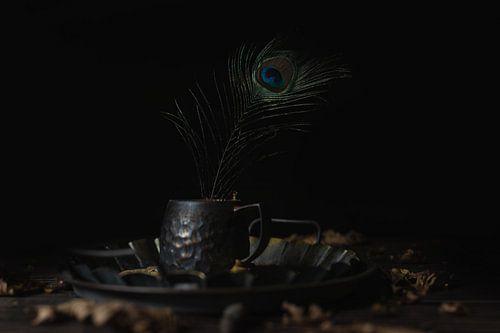 Donker stilleven met pauwveer van Steven Dijkshoorn