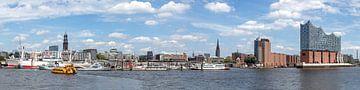 Havenpanorama Hamburg van Uwe Ulrich Grün