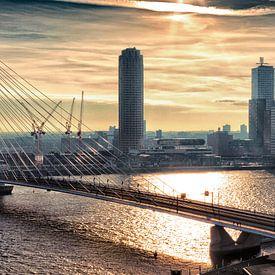 Rotterdam Skyline in the morning (Landscape) van Rob van der Teen