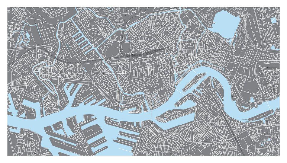 Rotterdam | Stadskaart - Panorama Grijs van - Wereldkaarten.Shop -