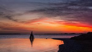 Oude meerpaal met zonsopkomst
