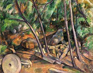 Paul Cézanne, Molensteen in het park van Château Noir - 1900