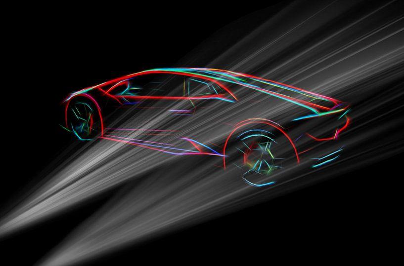 Lambo supercar in dunkler Umgebung von Atelier Liesjes