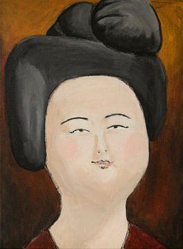 Een portret van een Chinese dikke dame 'Fat ladies' VII van Linda Dammann