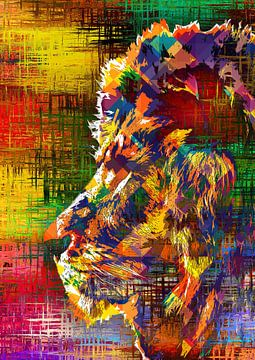 Eine farbenfrohe Arbeit mit einem Löwen von Bert Hooijer