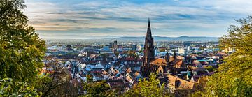 Freiburg im Breisgau skyline in herfst XXL panorama van Simon Dux