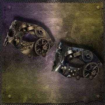 steampunk-mask-on steel plate