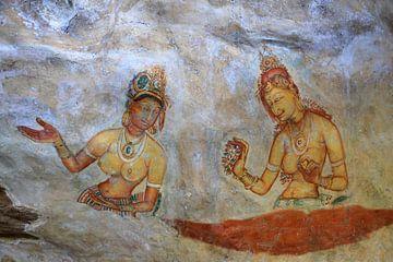 Fresco van wolkenmeisjes op de leeuwenrots van Sigiriya von Antwan Janssen