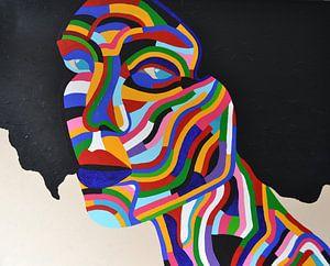 Bunte Malerei Regenbogen -Frau 2 , alle Farben des regen Bogen. von Freek van der Hoeve