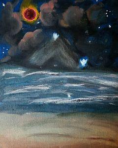 Kosmische Malerei, Ölgemälde, Blutmond