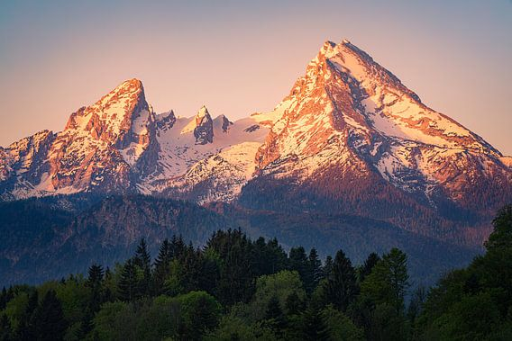Sonnenaufgang Watzmann bei Berchtesgaden, Bayern, Deutschland