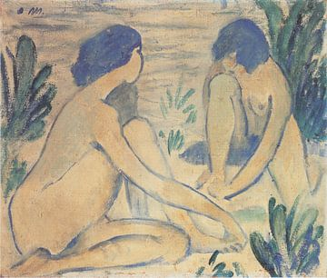 Blauwe zwemmers, Otto Mueller - ca1912 van Atelier Liesjes