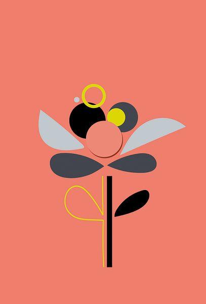 Een kleurrijke, minimalistische bloem.  van Charlotte Hortensius