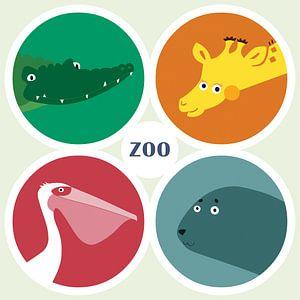 Vier dierentuindieren van