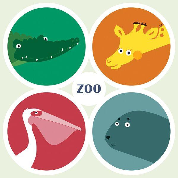 Vier dierentuindieren van Studio Mattie