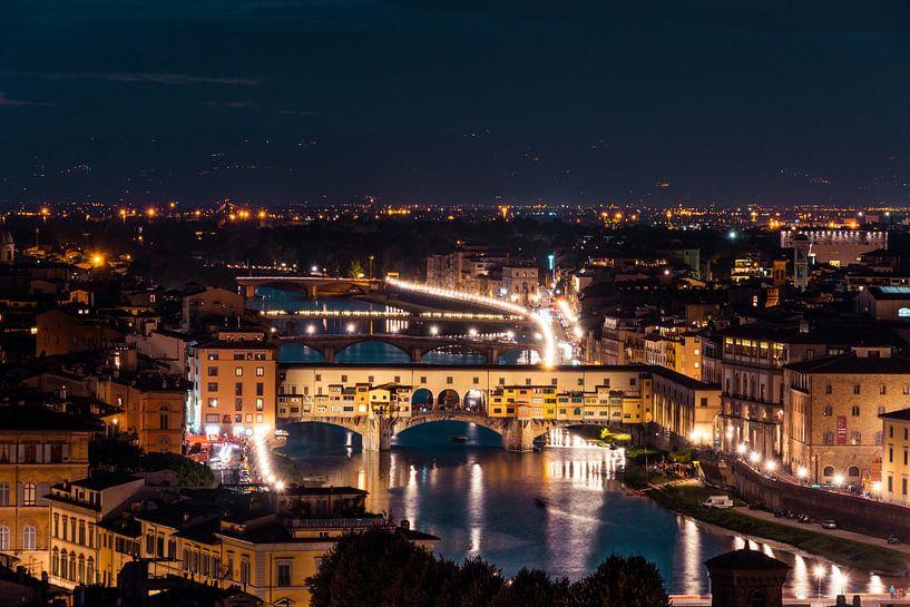 Ponte Vecchio sur l'Arno la nuit sur Atelier Liesjes
