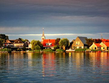 Dutch  village Oudega with reflection sur Pieter Heymeijer