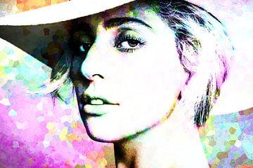 Lady Gaga Modernes abstraktes Porträt in Rosa, Grün, Blau, Orange von Art By Dominic