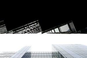 Moderne architectuur in London vanuit kikvorsperspectief van