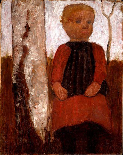 Paula Modersohn Becker.Kind im roten Kleid von 1000 Schilderijen