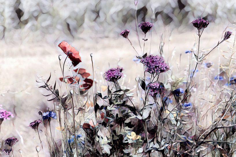 Wildblumenwiese Aquarellbild von Patricia Piotrak