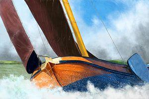 Stormachtig weer skûtsje zeilschip van
