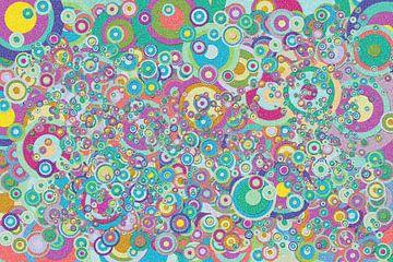 Abstract werk met cirkels 'Lente' van Ton Kuijpers