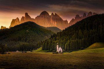 Kapelle im Villnößtal in den Dolomiten von Voss Fine Art Photography