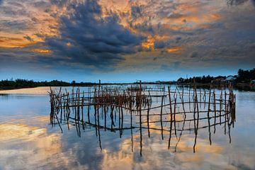 Sonnenuntergang am Fluss von Richard van der Woude